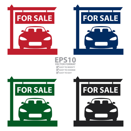Vector : Car Showroom With Car For Sale Sign Icon, Sticker or Label Isolated on White Background Illustration
