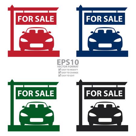 car showroom: Vectorial: Car Showroom Con el coche para el Icono de sesi�n de venta, la etiqueta engomada o etiqueta aislado en el fondo blanco Vectores