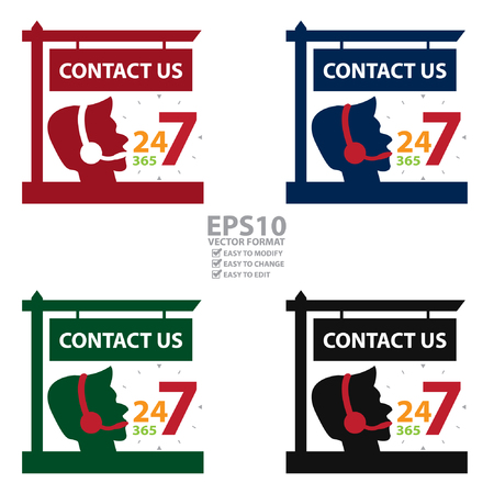 contact center: Vector : Contact Us and 24 7 365 Call Center Sign Icon, Sticker or Label Isolated on White Background