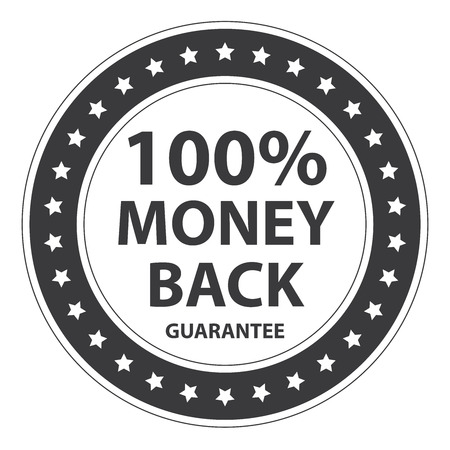 insurance claim: Black Circle Vintage Style 100 Percent Money Back Guarantee Icon, Sticker or Label Isolated on White Background