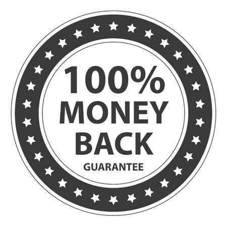 Black Circle Vintage Style 100 Percent Money Back Guarantee Icon, Sticker or Label Isolated on White Background