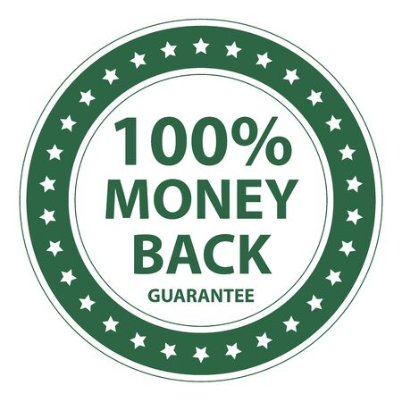insurance claim: Green Circle Vintage Style 100 Percent Money Back Guarantee Icon, Sticker or Label Isolated on White Background