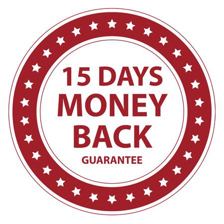 白い背景で隔離のラベルやステッカー レッド サークル ビンテージ スタイル 15 日間のお金の背部保証アイコン