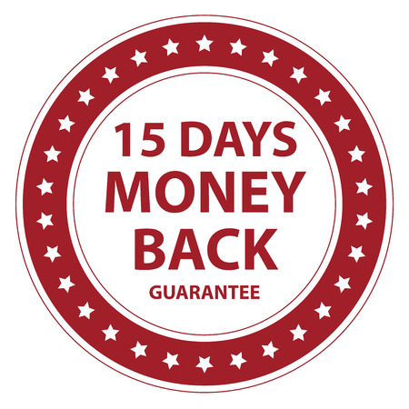 Red Circle Vintage Style 15 Days Money Back Guarantee Icon, Sticker or Label Isolated on White Background