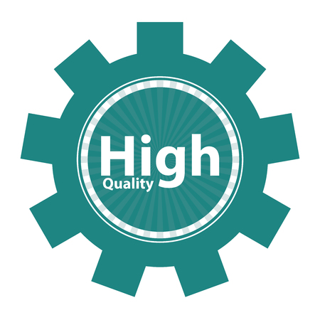 qc: Blue Gear High Quality Icon or Label Isolated on White Background