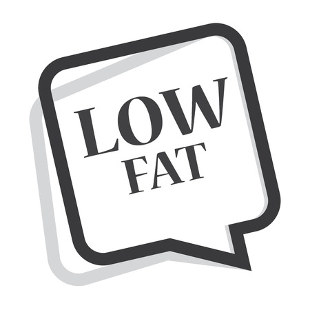 nonfat: Black Speech Bubble Low Fat Icon, Sticker or Label Isolated on White Background Stock Photo