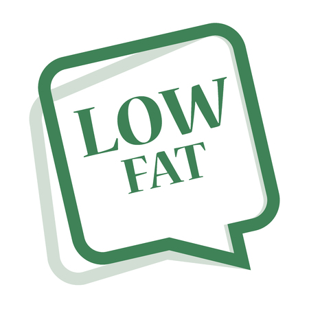 low cal: Green Speech Bubble Low Fat Icon, Sticker or Label Isolated on White Background
