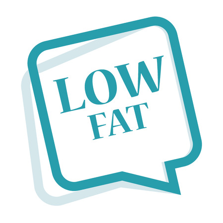 low cal: Blue Speech Bubble Low Fat Icon, Sticker or Label Isolated on White Background