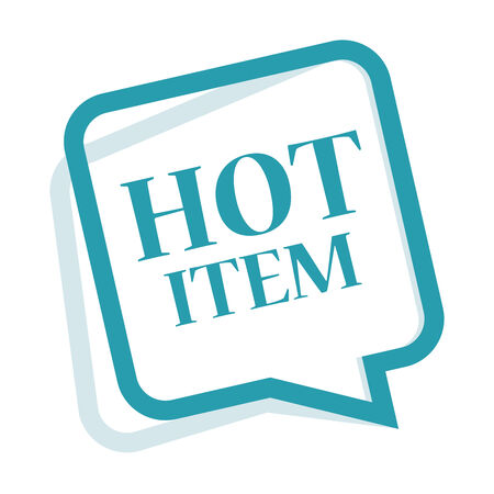 item icon: Blue Speech Bubble Hot Item Icon, Sticker or Label Isolated on White Background