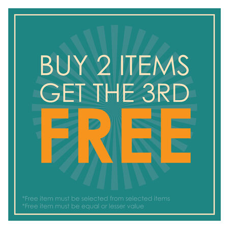 3rd: Blue Square Buy 2 Items Get The 3rd Free Poster, Leaflet, Handbill, Flyer Icon, Label or Sticker Isolated on White Background
