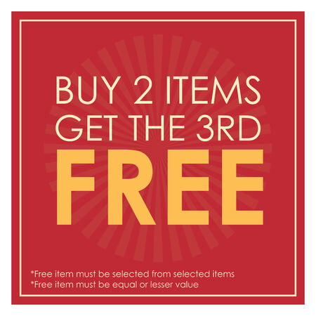 3rd: Red Square Buy 2 Items Get The 3rd Free Poster, Leaflet, Handbill, Flyer Icon, Label or Sticker Isolated on White Background