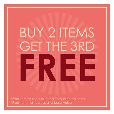 3rd: Pink Square Buy 2 Items Get The 3rd Free Poster, Leaflet, Handbill, Flyer Icon, Label or Sticker Isolated on White Background