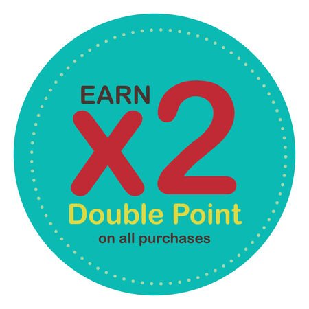 Blue Circle Earn x2 Double Point on All Purchases Icon, Label or Sticker Isolated on White Background