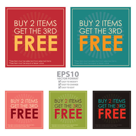 3rd: Vector : Square Buy 2 Items Get The 3rd Free Poster, Leaflet, Handbill, Flyer Icon, Label or Sticker Isolated on White Background
