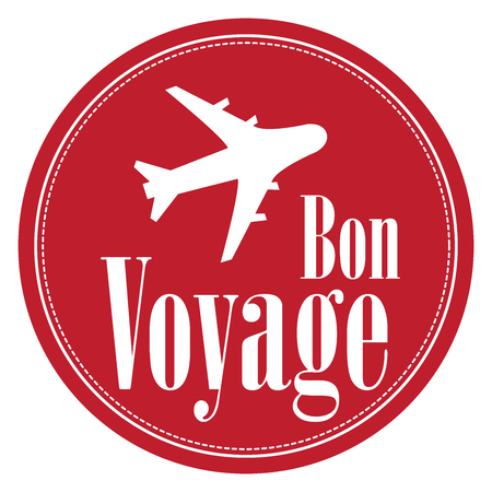 voyage: Red Circle Vintage Style Bon Voyage Icon, Label, Button or Sticker Isolated on White Background Stock Photo