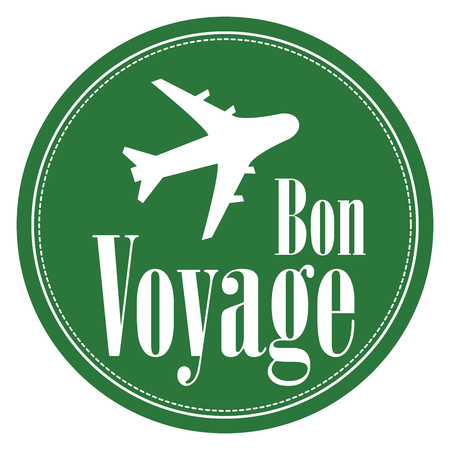 voyage: Green Circle Vintage Style Bon Voyage Icon, Label, Button or Sticker Isolated on White Background