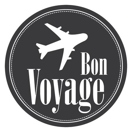 bon: Black Circle Vintage Style Bon Voyage Icon, Label, Button or Sticker Isolated on White Background Stock Photo
