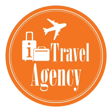 Orange Circle Vintage Style Travel Agency Icon, Label, Button or Sticker Isolated on White Background