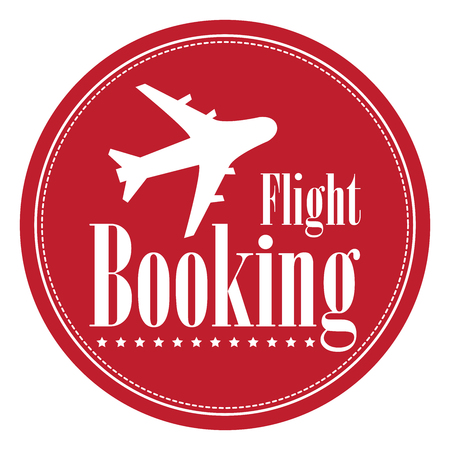 flight booking: Red Circle Vintage Style Flight Booking Icon, Label, Button or Sticker Isolated on White Background