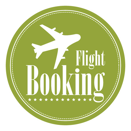 flight booking: Green Circle Vintage Style Flight Booking Icon, Label, Button or Sticker Isolated on White Background