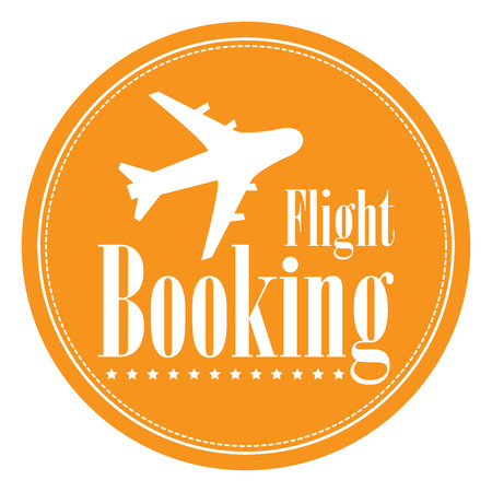 flight booking: Orange Circle Vintage Style Flight Booking Icon, Label, Button or Sticker Isolated on White Background Stock Photo
