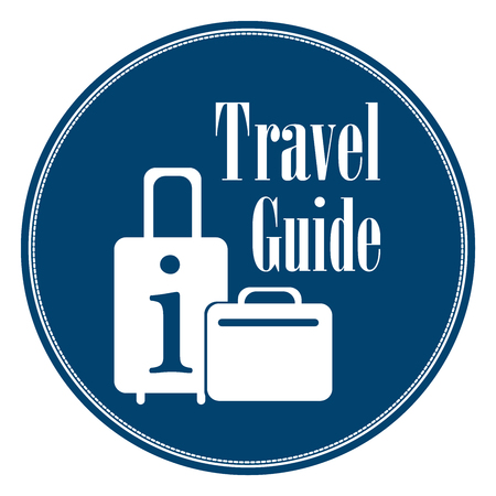 travel guide: Blue Blue Vintage Style Travel Guide Icon, Label, Button or Sticker Isolated on White Background Stock Photo