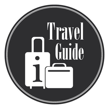 travel guide: Black Blue Vintage Style Travel Guide Icon, Label, Button or Sticker Isolated on White Background Stock Photo