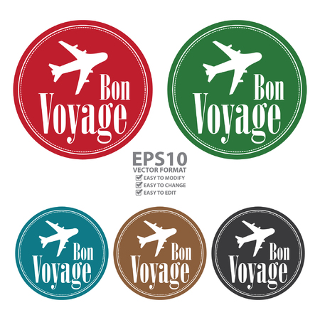 voyage: Vector : Circle Vintage Style Bon Voyage Icon, Label, Button or Sticker Isolated on White Background Illustration