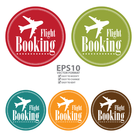 flight booking: Vector : Circle Vintage Style Flight Booking Icon, Label, Button or Sticker Isolated on White Background
