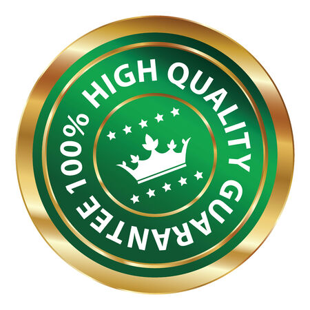 qc: Green and Gold Circle Metallic 100 Percent High Quality Guarantee Icon, Button, Label or Sticker Isolated on White Background