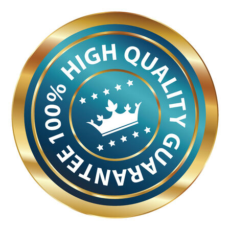 qc: Blue and Gold Circle Metallic 100 Percent High Quality Guarantee Icon, Button, Label or Sticker Isolated on White Background Stock Photo