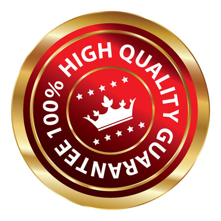 qc: Red and Gold Circle Metallic 100 Percent High Quality Guarantee Icon, Button, Label or Sticker Isolated on White Background Stock Photo