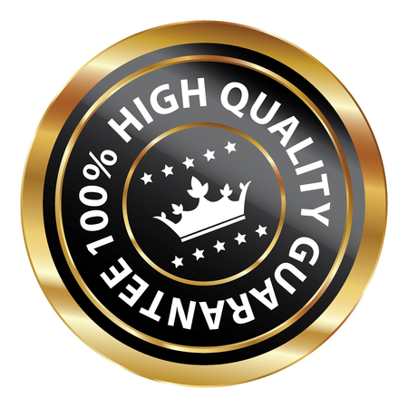qc: Black and Gold Circle Metallic 100 Percent High Quality Guarantee Icon, Button, Label or Sticker Isolated on White Background