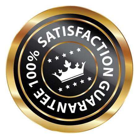 Black and Gold Circle Metallic 100 Percent Satisfaction Guarantee Icon, Button, Label or Sticker Isolated on White Background