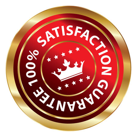 qc: Red and Gold Circle Metallic 100 Percent Satisfaction Guarantee Icon, Button, Label or Sticker Isolated on White Background