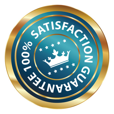 qc: Blue and Gold Circle Metallic 100 Percent Satisfaction Guarantee Icon, Button, Label or Sticker Isolated on White Background