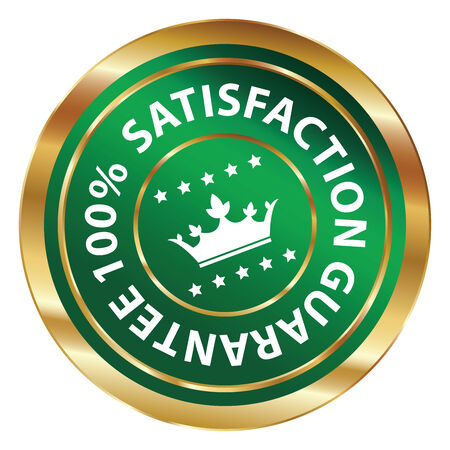 qc: Green and Gold Circle Metallic 100 Percent Satisfaction Guarantee Icon, Button, Label or Sticker Isolated on White Background Stock Photo