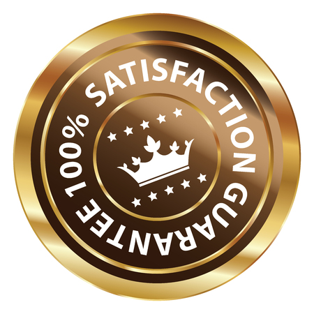 qc: Brown and Gold Circle Metallic 100 Percent Satisfaction Guarantee Icon, Button, Label or Sticker Isolated on White Background