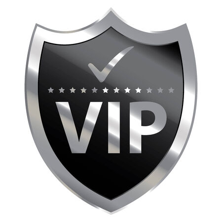 crucial: Black Metallic Shield With VIP Sign Isolated on White Background