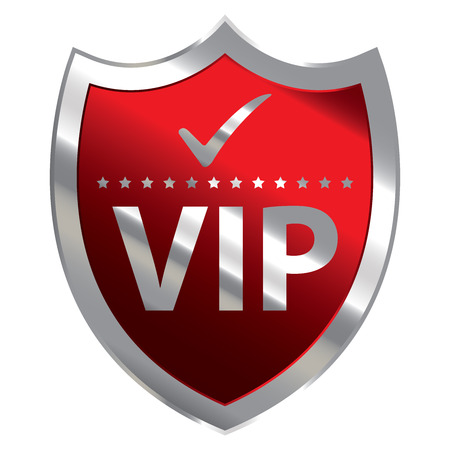 crucial: Red Metallic Shield With VIP Sign Isolated on White Background Stock Photo