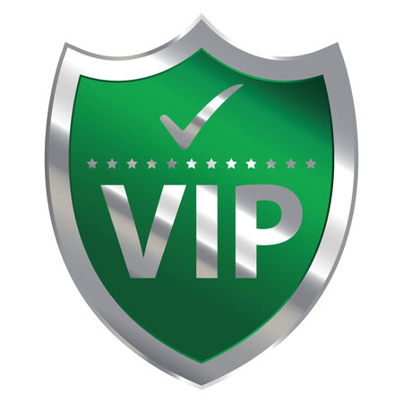 crucial: Green Metallic Shield With VIP Sign Isolated on White Background