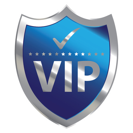 limited access: Blue Metallic Shield With VIP Sign Isolated on White Background