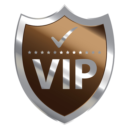 limited access: Brown Metallic Shield With VIP Sign Isolated on White Background Stock Photo