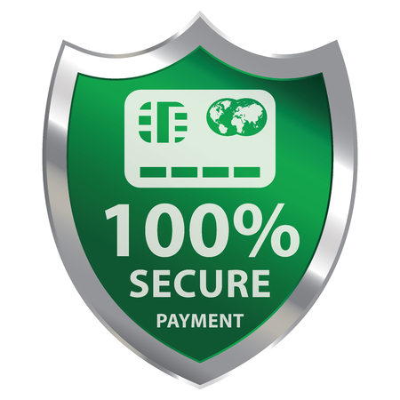 secure payment: Green Metallic Shield With 100 Percent Secure Payment Sign Isolated on White Background