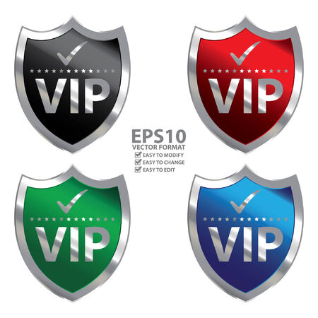 limited access: Vector : Metallic Shield With VIP Sign Isolated on White Background Illustration