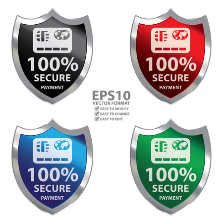 secure payment: Vector : Metallic Shield With 100 Percent Secure Payment Sign Isolated on White Background