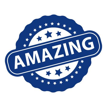 Blue Amazing Icon, Badge, Label or Sticker Isolated on White Background Stock Photo