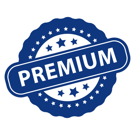qc: Blue Premium Icon, Badge, Label or Sticker Isolated on White Background
