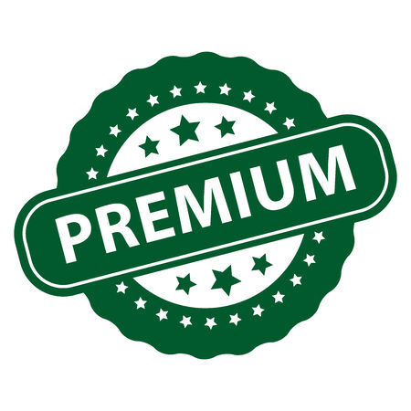 qc: Green Premium Icon, Badge, Label or Sticker Isolated on White Background Stock Photo