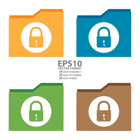 Vector : Lock Document Icon, Sign or Button Isolated on White Background Illustration